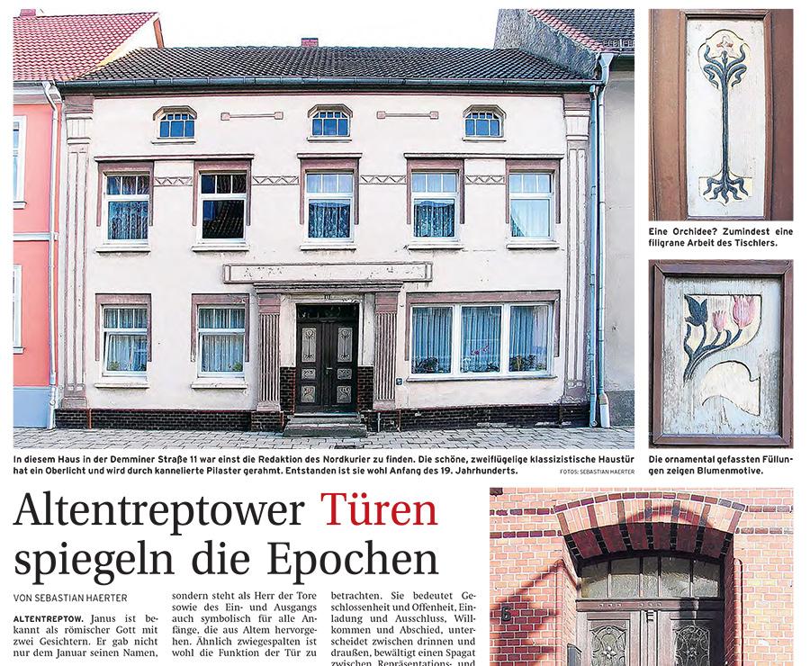 Altentreptower Türen spiegeln die Epochen - Artikelbild NK Kurier am Wochenende