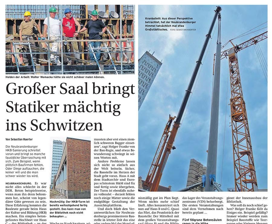 Großer Saal bringt Statiker mächtig ins Schwitzen - Artikelbild NK Mecklenburgische Seenplatt
