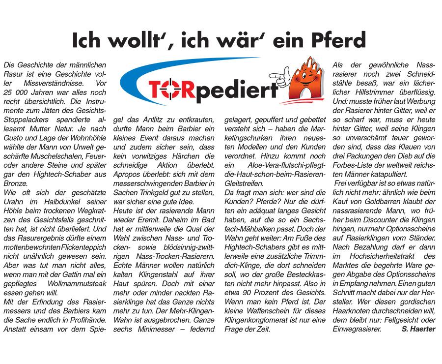 Ich wollt´, ich wär´ein Pferd - TORpediert Beitragsbild Neubrandenburger Innenstadt-Magazin