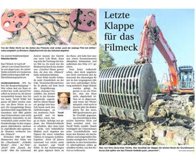Letzte Klappe für das Filmeck - Artikelbil NK Mechlenburgische Seenplatte