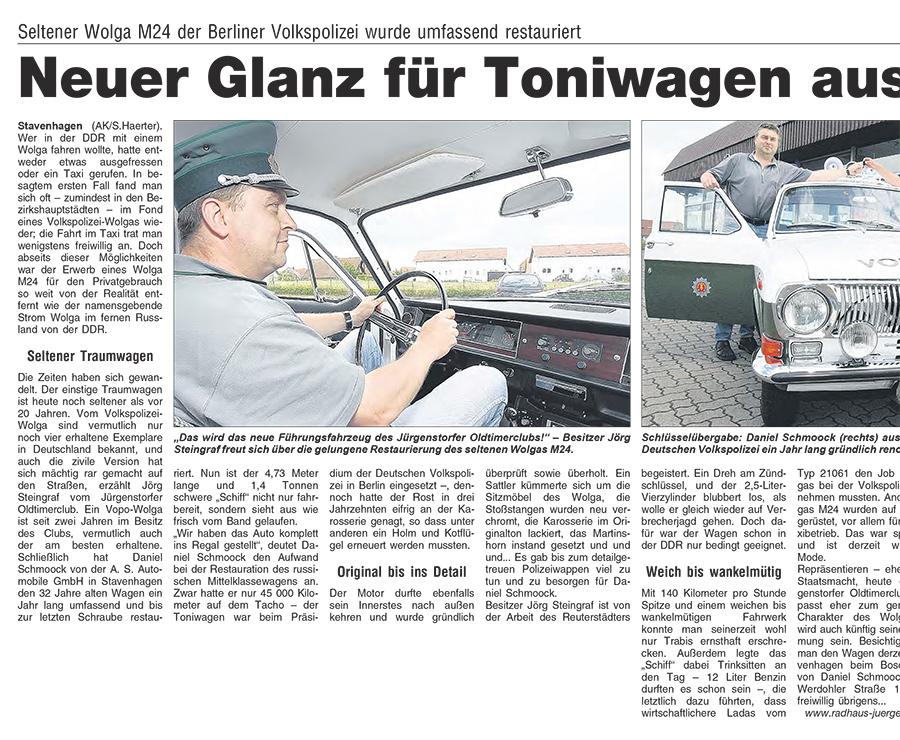 Neuer Glanz für Toniwagen aus Berlin - Artikelbild AnzeigenKurier