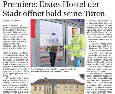 Premiere: Erstes Hostel der Stadt öffnet bald seine Türen - Artikelbild NK Neubrandenburger Zeitung